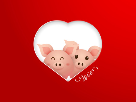 illustration of couple cute pig with heart shape frame on red background cartoon vector Illustration