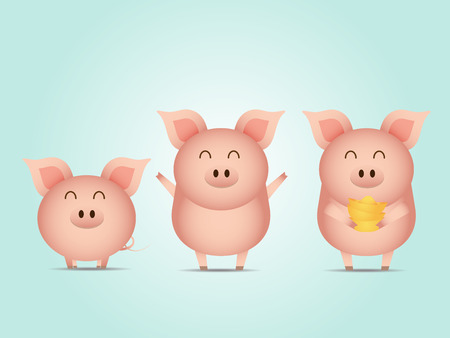 illustration of cute pig with gold cartoon vector 向量圖像