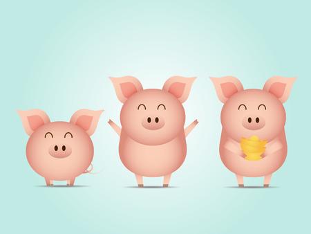 illustration of cute pig with gold cartoon vector Illustration
