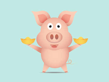 illustration of cute pig with gold year of pig cartoon vector