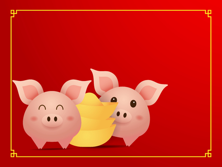 illustration of couple cute  pig and gold on red background cartoon chinese new year vector illustration