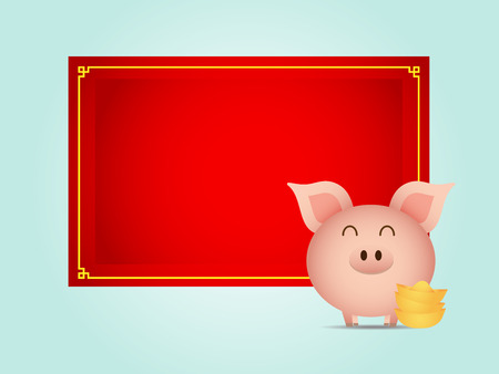 illustration of cute pig with gold and blank red board cartoon vector Illustration