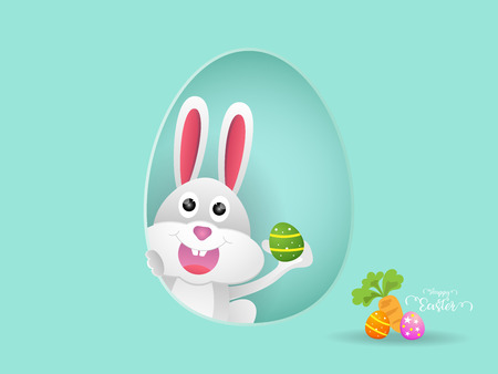 illustration of rabbit or bunny with easter egg  cartoon vector background Illustration
