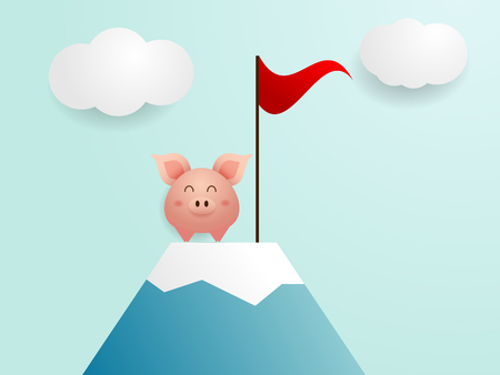 illustration of cute pig finish on top of mountain with red flag cartoon vector
