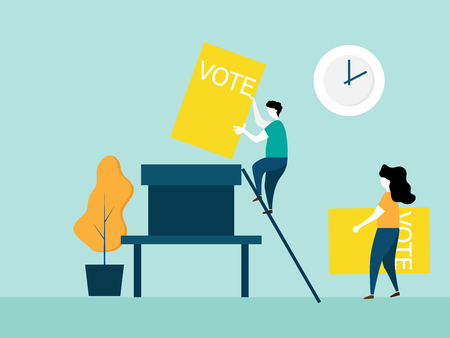 illustration of voting concept people hold ballot paper and putting into big box vector cartoon