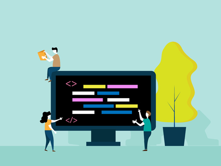 programming concept, people brainstorm for coding vector cartoon flat design