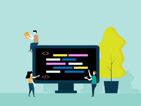 programming concept, people brainstorm for coding vector cartoon flat design