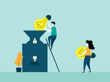 idea is money concept people put fresh bulb idea into big machine for change to money cartoon vector illustration