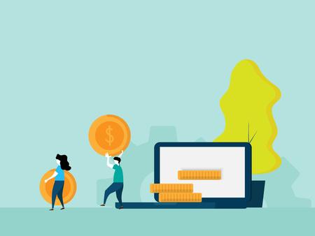 make money online concept people make money from laptop cartoon vector illustration