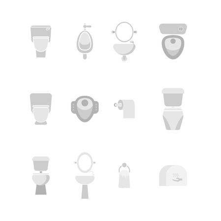set of urinal, toilet bowl, and equipment in toilet icon vector illustration