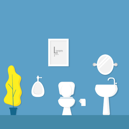 bathroom interior with white toilet bowl, urinal vector illustration
