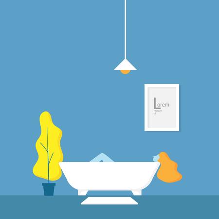illustration of girl relaxing in bathtub at bathroom vector illustration Stock Vector - 119822191