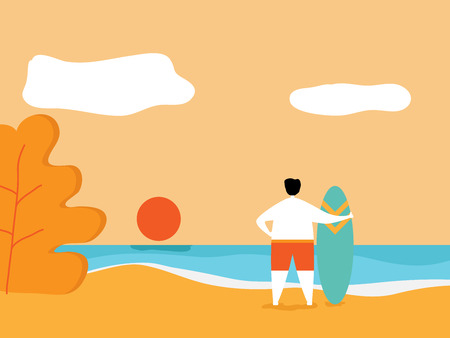 illustration of summer concept, man with surfboard on beach cartoon vector