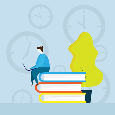 illustration of human working with times cartoon vector Illustration