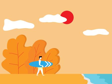 illustration of summer concept, man with surfboard on beach cartoon vector