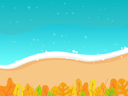 illustration of summer beach top view with tropical leaves vector background