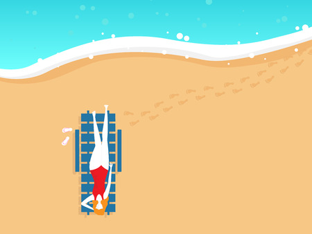 illustration of girl on beach chair in summer top view vector background Illustration
