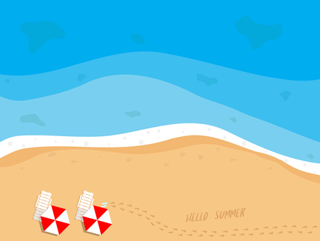 illustration of summer beach top view with beach chairs, umbrella, slippers and footprints on sand vector background Illustration