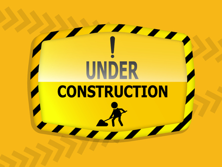 illustration of under construction label with sign vector background