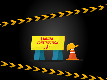 illustration of under construction label with sign vector background Stock Vector - 123408426
