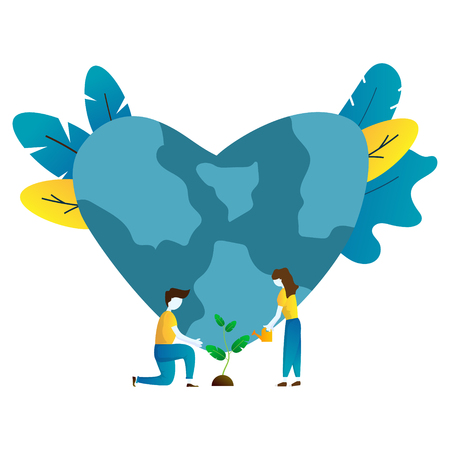 illustration of people planting a tree and world with heart shape, save world concept vector background Illustration
