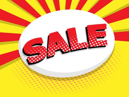 illustration of sale label comic book, pop art vector background