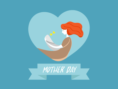 illustration of mother with baby on heart shape background happy mother day vector background flat design