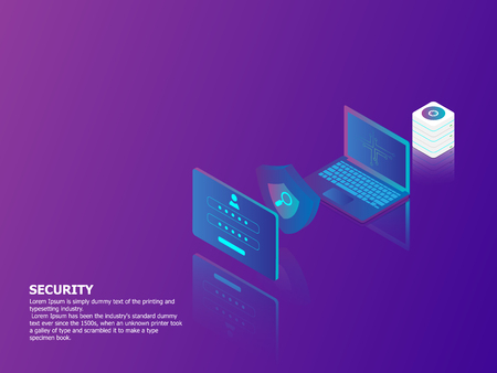 illustration of network security concept vector isometric background