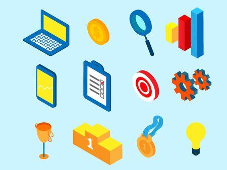 illustrator of business icon symbol isometric vector background