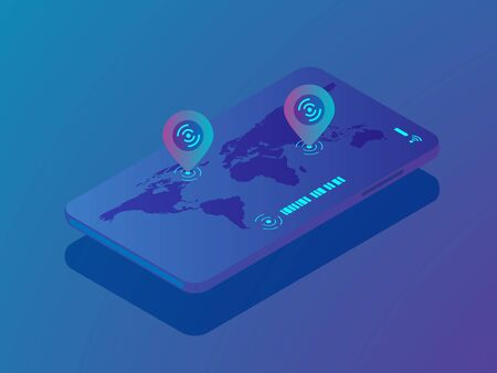 illustration of mobile smartphone with location application, pin location on world map vector isometric background