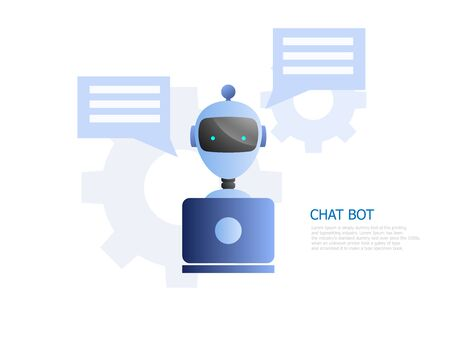 illustration of chat bot concept, robot use laptop to chatting and working vector background