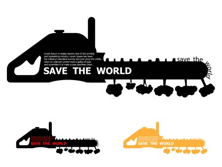 illustration of save the world concept, tree destroyed by chain saw vector background