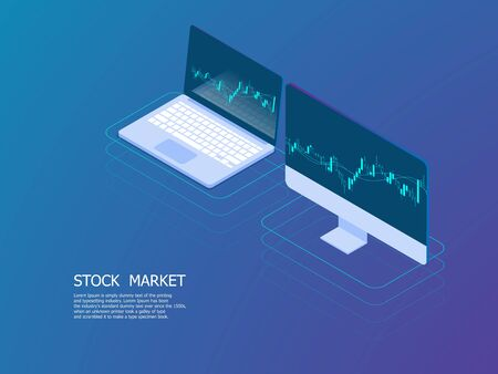 illustration of laptop and pc with candle stick graph for stock market business vector isometric background Stock Vector - 127036576