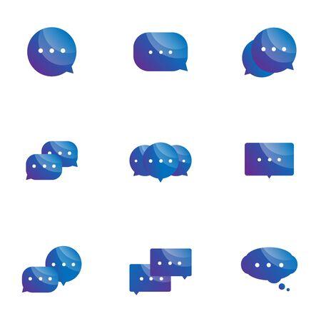 set of speech bubble icons vector illustration