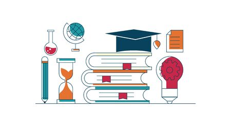 illustration of education concept icons flat line design vector background