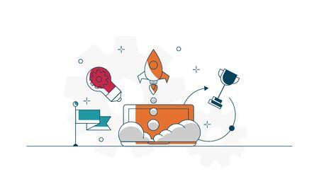 illustration of business startup concept flat icons design vector background Illustration