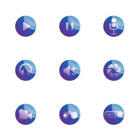 set of multimedia function icons vector illustration