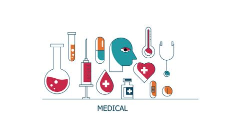 illustration of health care and medical icons flat design vector background