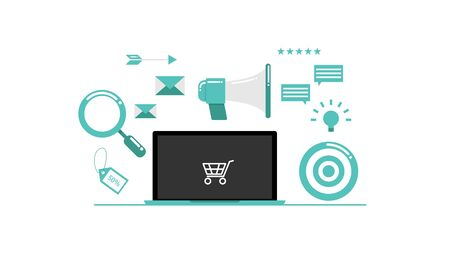 illustration of online marketing  with laptop vector flat design