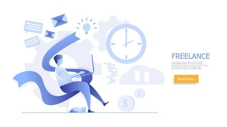 man working at home freelance concept cartoon flat design vector illustration landing page Stock Vector - 128008454