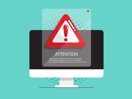 illustration of computer with attention, warning sign vector flat design