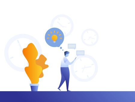 man using time in social media for finding fresh idea vector illustration cartoon flat design