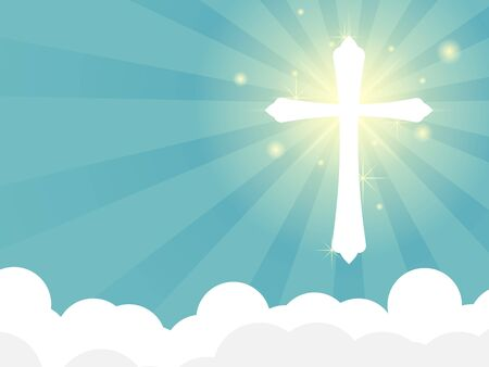 shining white cross with ray of light on cloud vector illustration background falt design