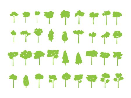 set of green tree for icon and symbol vector illustration flat design