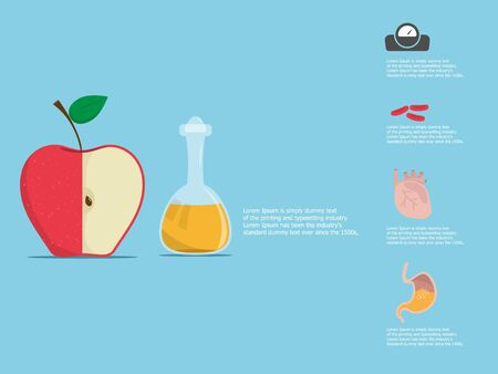 illustration of apple vinegar and half of an apple with benefit vector flat design