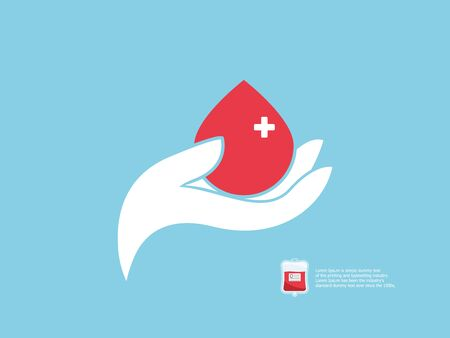 illustration of blood donor concept, human hand with blood drop vector flat design