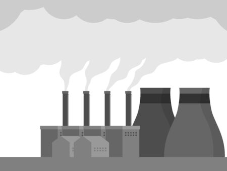 illustration of air pollution with smog from factory vector flat design Иллюстрация