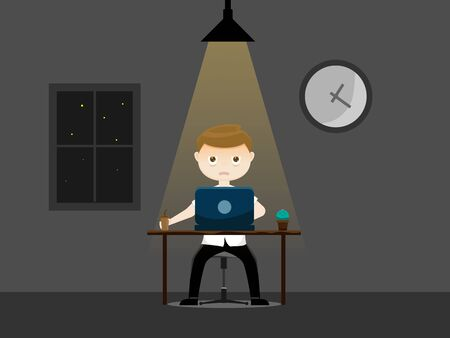 illustration of sleepy  businessman working at night vector cartoon flat design Banque d'images - 131262119