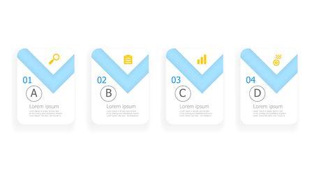 illustration of light blue horizontal infographics 4 steps for business or education presentation vector background