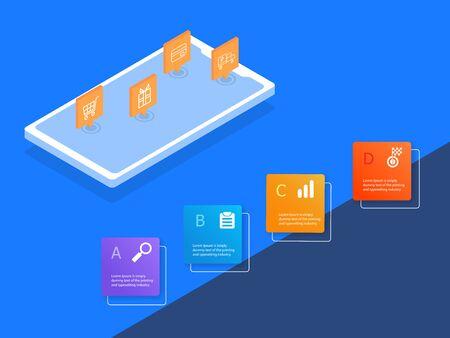 online shopping infographics 4 steps business concept vector illustration flat design